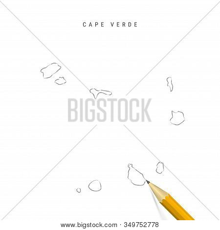 Cape Verde Freehand Pencil Sketch Outline Map Isolated On White Background. Empty Hand Drawn Vector