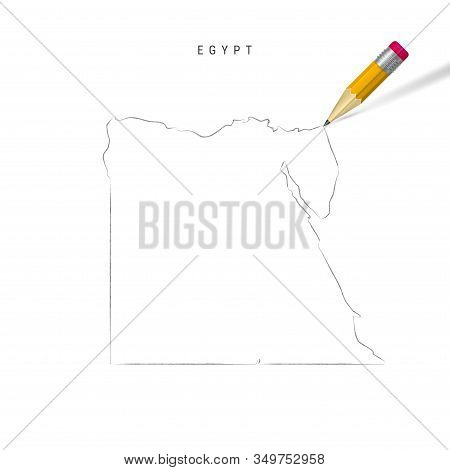 Egypt Freehand Pencil Sketch Outline Map Isolated On White Background. Empty Hand Drawn Vector Map O