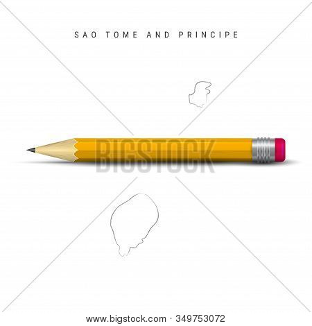 Sao Tome And Principe Freehand Pencil Sketch Outline Map Isolated On White Background. Empty Hand Dr