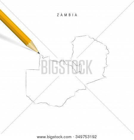 Zambia Freehand Pencil Sketch Outline Map Isolated On White Background. Empty Hand Drawn Vector Map