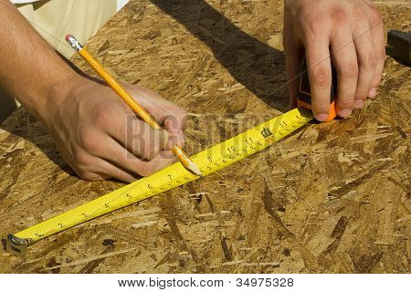 Worker Measuring Plywood