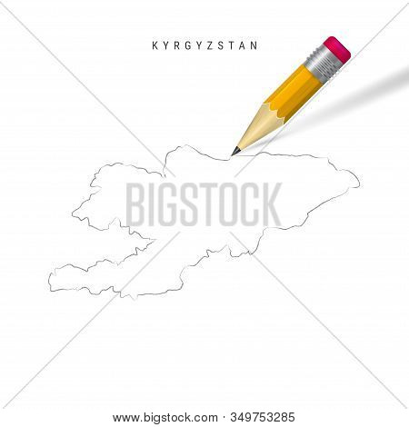 Kyrgyzstan Freehand Pencil Sketch Outline Map Isolated On White Background. Empty Hand Drawn Vector