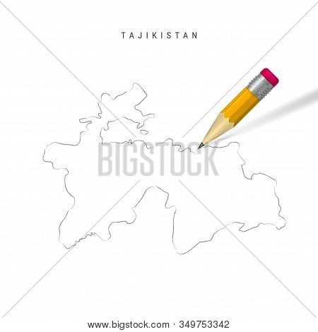 Tajikistan Freehand Pencil Sketch Outline Map Isolated On White Background. Empty Hand Drawn Vector