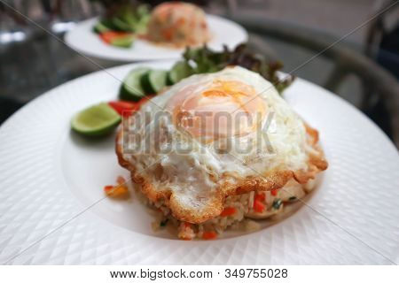 Stir-fried Rice With Fried Egg Topping , Fried Rice