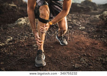 Runner Using Knee Support Bandage And Have A Problem With Leg Injury On Running. Periosteum Problem
