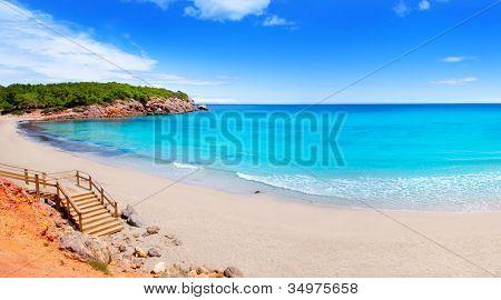 Cala Nova beach in Ibiza island with turquoise water in Balearic Mediterranean