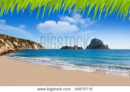 Es vedra island of Ibiza view from Cala d Hort in Balearic islands [ photo-illustration]