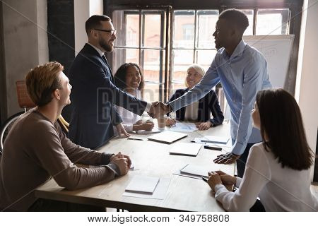 African Caucasian Ethnicity Businessmen Party Leaders Shaking Hands Starting Negotiations