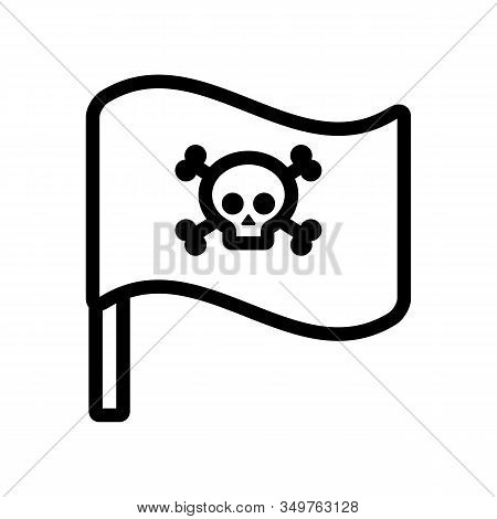 Flag Pirate Roger Icon Vector. Thin Line Sign. Isolated Contour Symbol Illustration