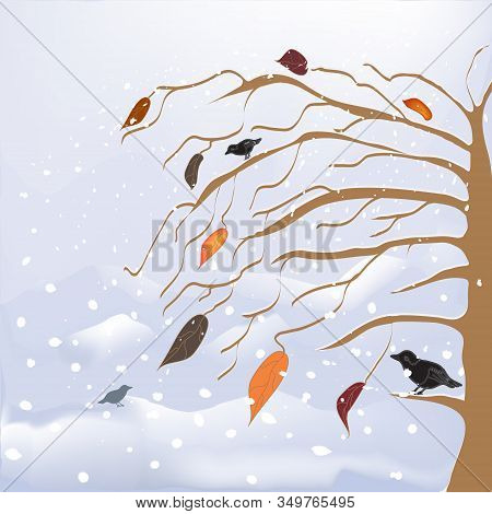 Abstract Winter And Autumnal Landscape With Snow -cover Tree, Birds, Snow Fall, Leaf Fall, Snowdrift