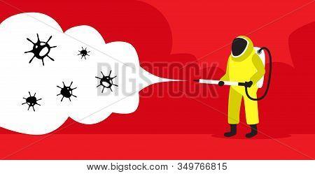 Scientist In Hazmat Suit Cleaning And Disinfecting Coronavirus Cells Epidemic Mers-cov Virus Concept