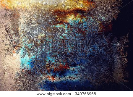 Frosty Natural Pattern On Winter Window, Glass And Painting Effect.