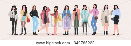Beautiful Women Group Standing Together Attractive Girls Female Cartoon Characters In Fashion Clothe