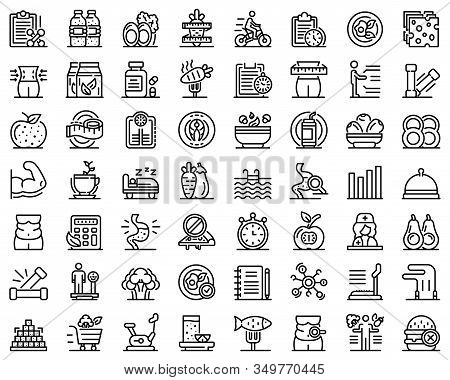 Nutritionist Icons Set. Outline Set Of Nutritionist Vector Icons For Web Design Isolated On White Ba