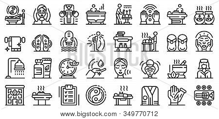 Masseur Icons Set. Outline Set Of Masseur Vector Icons For Web Design Isolated On White Background