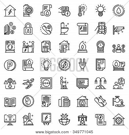 Utilities Icons Set. Outline Set Of Utilities Vector Icons For Web Design Isolated On White Backgrou