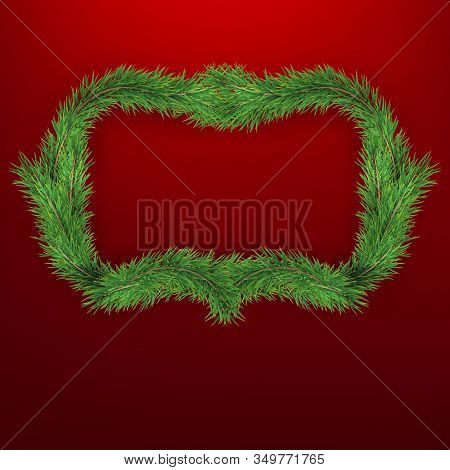 Winter Holiday Background With Firtree Frame. Border With Christmas Tree Branches. Great For New Yea