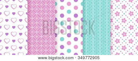Scrapbook Seamless Pattern, Background. Vector. Cute Paper For Scrap Design. Chic Print With Heart,