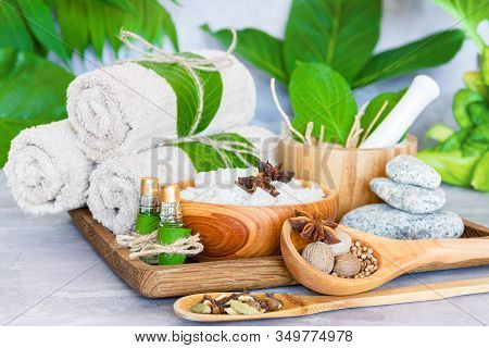 Tray With Set For Relaxing Spa Thai Treatments. Cotton Towel Rolls, Healing Spices, Wooden Bowl Of S