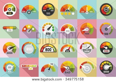 Credit Score Icons Set. Flat Set Of Credit Score Vector Icons For Web Design