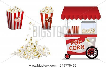 Popcorn Icons Set. Cartoon Set Of Popcorn Vector Icons For Web Design
