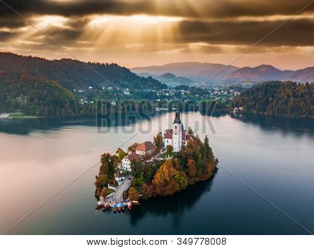 Aerial View On Bled Lake With Pilgrimage Church Of The Assumption Of Maria, Bled, Slovenia, Europe