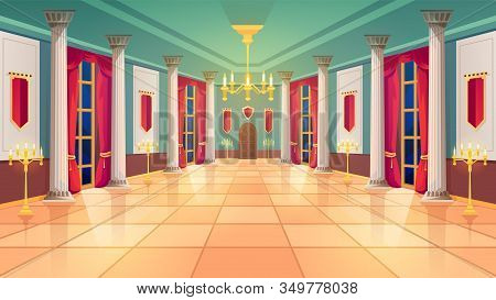Ballroom Hall, Medieval Palace Room, Royal Castle Interior, Background. King Ballroom With Luxury In