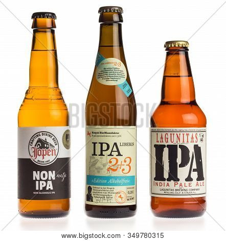Groningen, Netherlands - February 06, 2020: Collection Of Ipa Craft Beers Isolated On A White Backgr