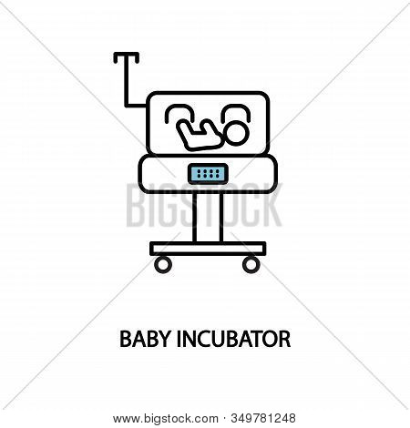 Baby Incubator Line Icon. Neonatal Intensive Care Unit. Premature