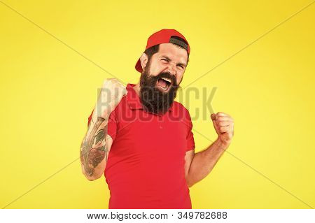 Happiness Concept. Psychological Health. Happy Emotional Guy. Positive Emotions. Happy Man On Yellow