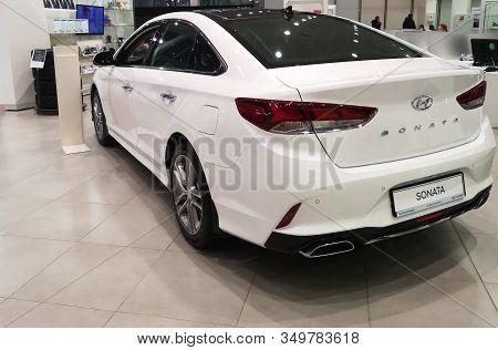 A Rear View Of A South Korean Hyundai Sonata Car At The Hyundai Motor Show On February 05, 2020 In R