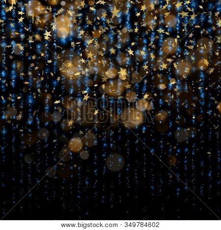 Sparkling Golden Magic Glowing Dust. Golden Christmas And New Year Glittering Stars On Dark Blue Bok