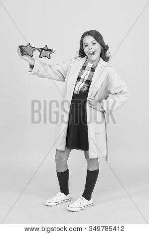 Fame And Popularity. Popular Schoolgirl. Carnival Costume Famous Celebrity. Cheerful Girl Wear Eyegl