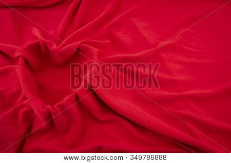 Valentines Red Heart Background With Luxurious Soft Draped Fabric Over A Heart Shaped Frame For A Lo