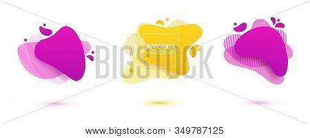 Amoeba Liquid Design. Dynamical Colored Forms Of Amoeba. Modern Banner Template For Logo, Flyer, Pre