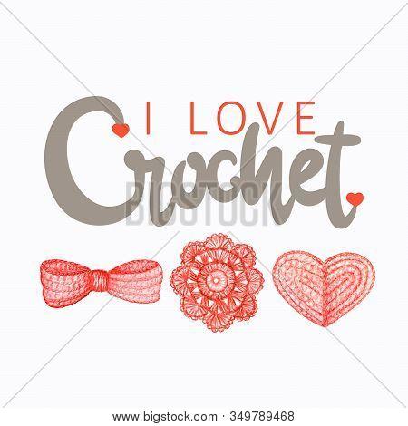 Red Gray Beige Crochet Shop Logotype, Branding, Avatar Composition Of Crocheted Heart, Bow, Flower.