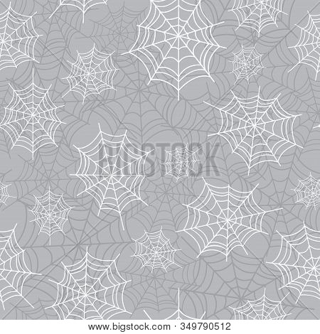 Cobweb, Spiderweb Halloween Seamless Pattern. Creepy Background Repeat Pattern For October Holidays.