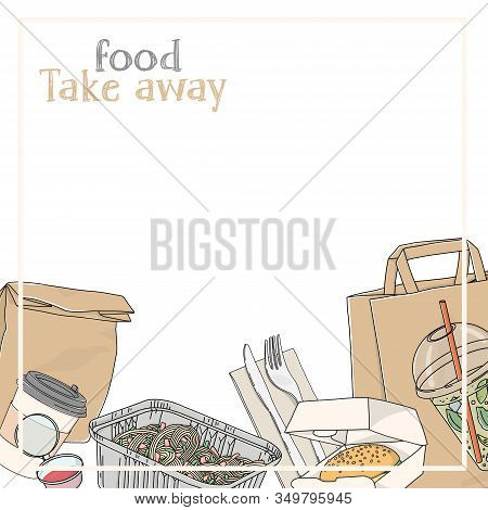 Take-away Food. Paper Bags, Drinks, Hot Food And Sandwiches In Disposable Packaging On A White Backg