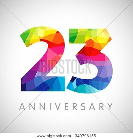 23 Rd Anniversary Numbers. 23 Years Old Logotype. Bright Congrats. Isolated Abstract Graphic Web Des