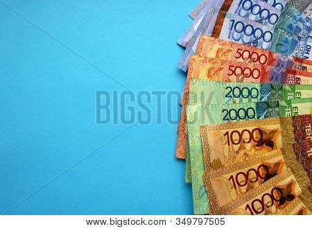 Kazakhstan National Currency - Tenge, Top View. One Thousand, Two Thousand, Five Thousand, Ten Thous
