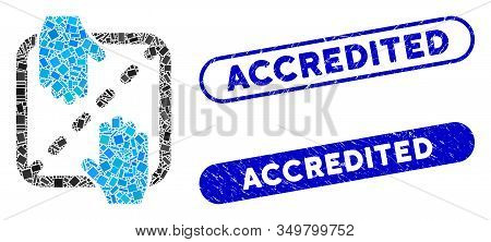 Mosaic Authorized Shares Icon And Red Round Grunge Stamp Seal With Accredited Text And Coronavirus S