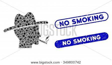 Mosaic Cigarette Smoker Icon And Red Rounded Rubber Stamp Seal With No Smoking Caption And Coronavir