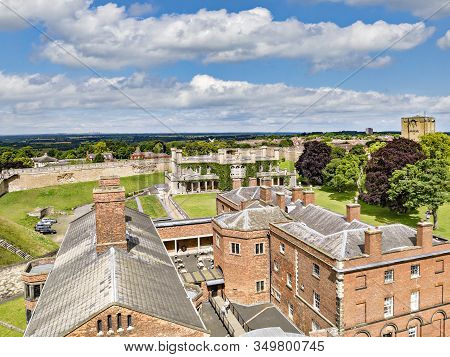 2 July 2019: Lincoln, Uk - A View Of The Old Gaol From The Castle Walls, With The Crown Court Buildi