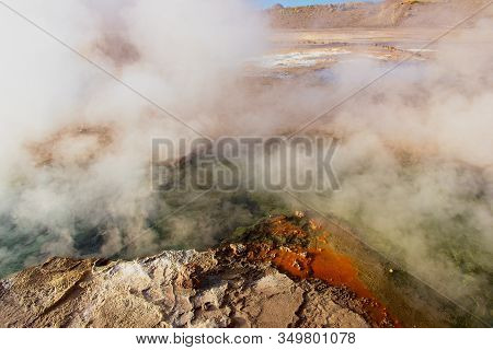 Beautiful El Tatio Geysers At Sunrise, Chile. Located At 4,320 Meters Above The Sea Level El Tatio G