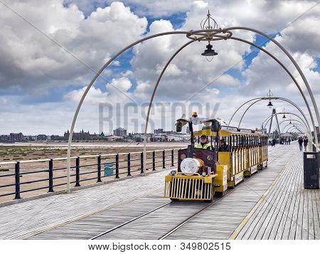 14 July 2019: Southport, Merseyside, Uk - Little Tourist Train On The Pier.