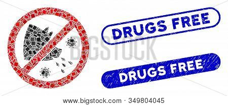 Mosaic Stop Swine Flu Icon And Red Rounded Distressed Stamp Seal With Drugs Free Caption And Coronav