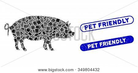 Mosaic Swine Icon And Red Round Grunge Stamp Seal With Pet Friendly Text And Coronavirus Symbol. Mos