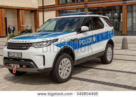 Arlamow, Poland - May, 2019: German Federal Police Patrol Car Land Rover Discovery. Off-road Utility