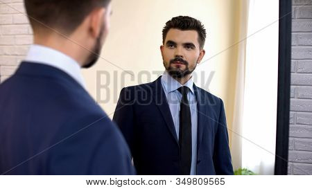 Young Confident Male In Formalwear Looking At Mirror Reflection, Motivation