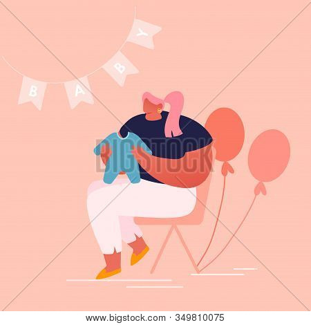 Young Woman Holding Child Clothing In Room Decorated With Balloons And Garlands For Baby Shower Cele